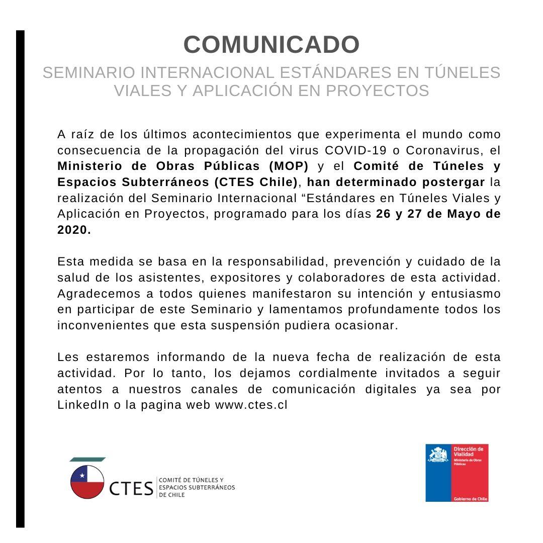 """COMUNICADO: Seminario Internacional """"Estándares en Túneles Viales y Aplicación en Proyectos"""