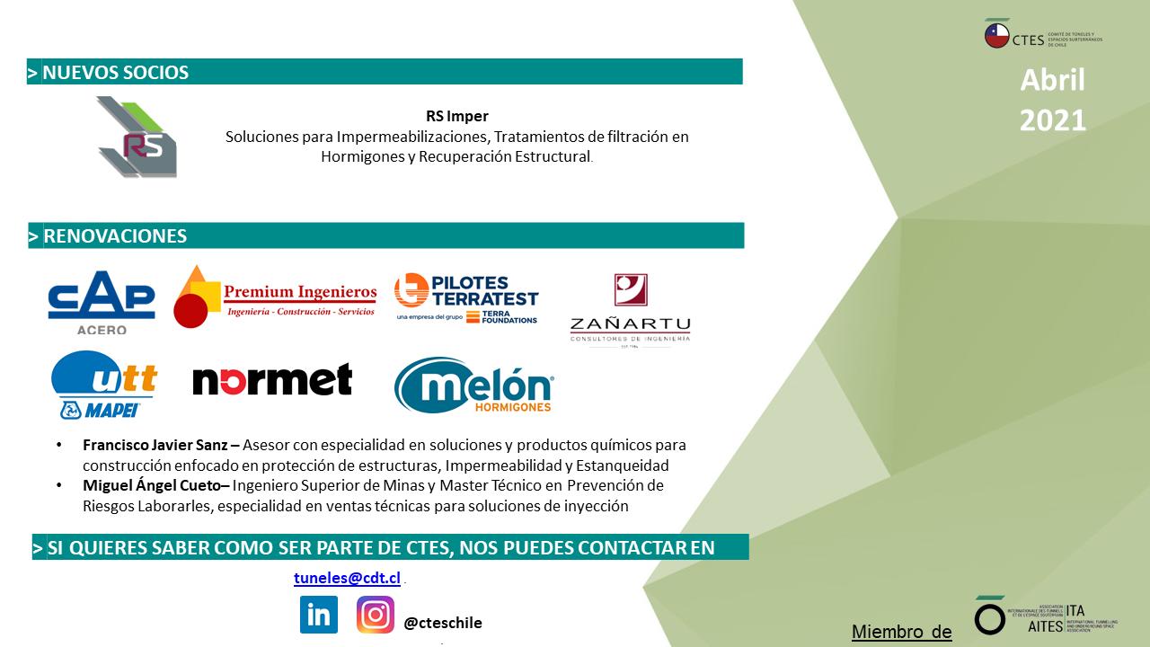 Bienvenida nuevos socios mayo del Comité de Túneles y Espacios Subterráneos