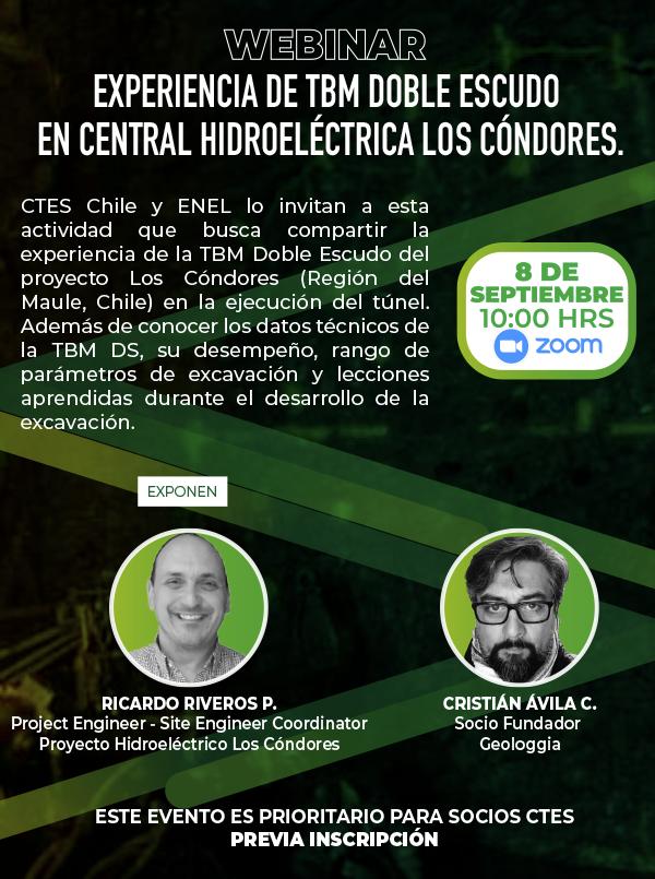 """Webinar """"Experiencia de TBM Doble Escudo en central Hidroeléctrica Los Cóndores, Región del Maule, Chile"""""""