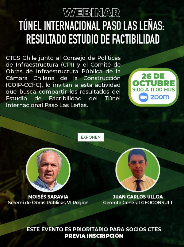 Participa del Webinar Construcción Túnel Internacional Las Leñas – Región de O´higgins – Resultados Estudios de Factibilidad